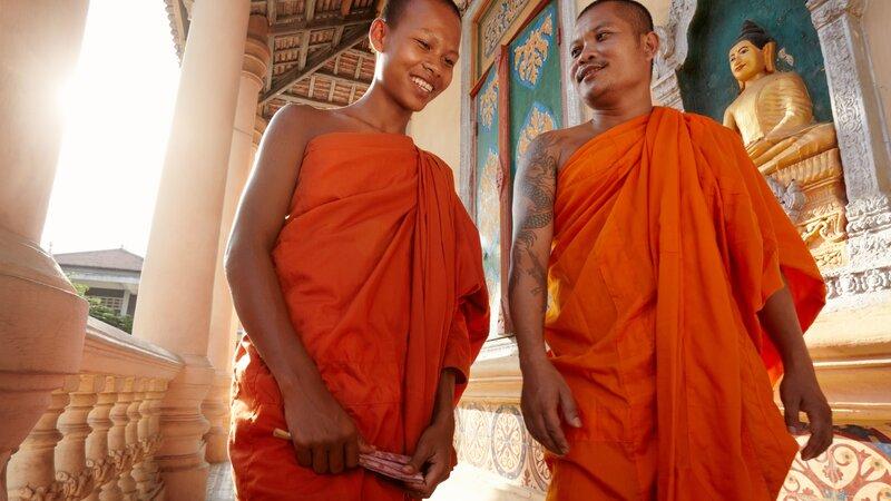 Cambodja-algemeen-twee lachende monks