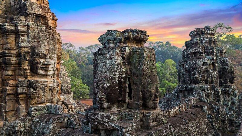 Cambodja-Siem Reap-Angkor Wat gezichten