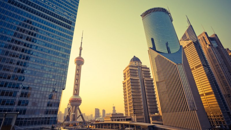 China-Shanghai-Shanghai skyline at dawn