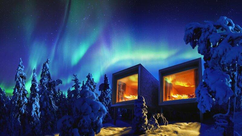 Finland-Lapland-Rovaniemi-Arctic-Treehouse-buitenaanzicht-noorderlicht2