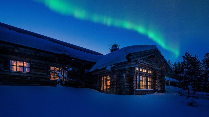 Finland-Lapland-Yllas-L7-Luxury-Lodge-buitenaanzicht-noorderlicht