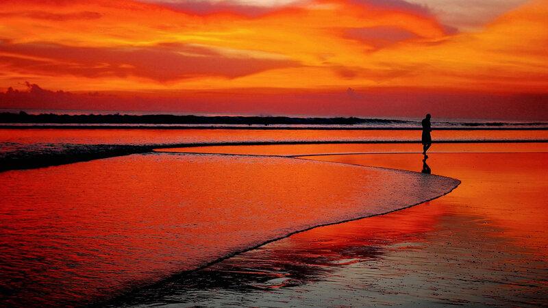 Indonesië-Bali-algemeen-strand-zonsondergang