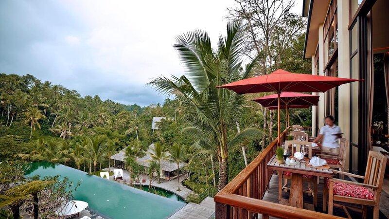 Indonesië-Ubud-Komaneka-Bisma-terras-uitzicht-zwembad-kamer