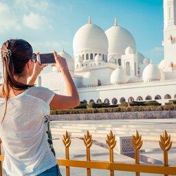 Abu Dhabi-Sheikh Zayed Moskee - vrouw foto