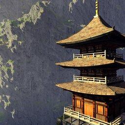 Bhutan-algemeen-pagode met bergen (2)