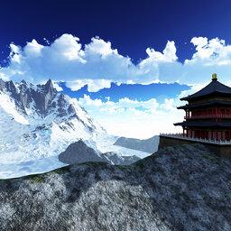 Bhutan-algemeen-uitzicht-pagode-sneeuw