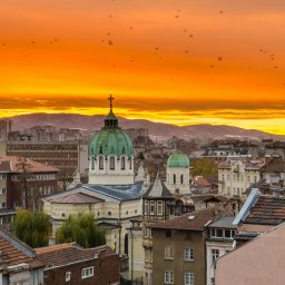 Bulgarije-Sofia-zonsondergang