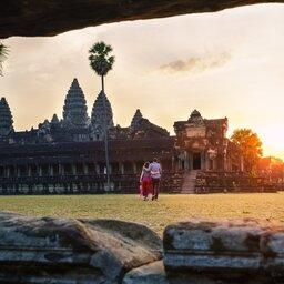 Cambodja-Siem Reap-hoogtepunt-koppel in Angkor Wat