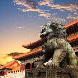 China-Peking-verboden stad beeld van leeuw