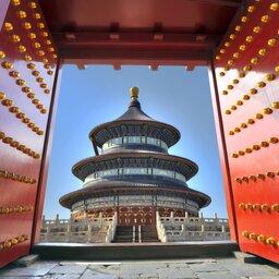 China-Peking-verboden stad door rood deurtje