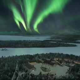 Finland-Lapland-Ivalo-Wilderness-Hotel-Nangu-luchtfoto-noorderlicht