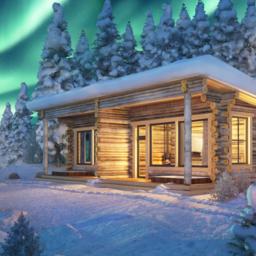 Finland-Lapland-Ivalo-Wilderness-Hotel-Nangu-panorama-log-cabin-buitenaanzicht-noorderlicht