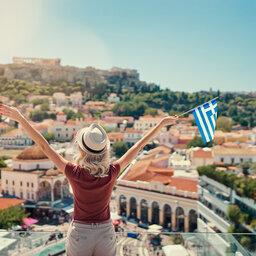 Griekenland-Athene-Vrouw-uitzicht-vlag