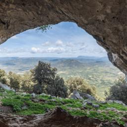 Italië-Sardinië-Oost-Su Gologone Experience Hotel-natuur zicht