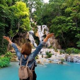 Laos-Luang Prabang-Kuang Si Watervallen meisje