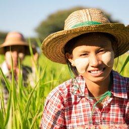 Myanmar-algemeen-vrouw in het veld