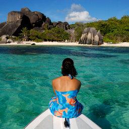 Seychellen-Praslin-algemeen-vrouw-boot